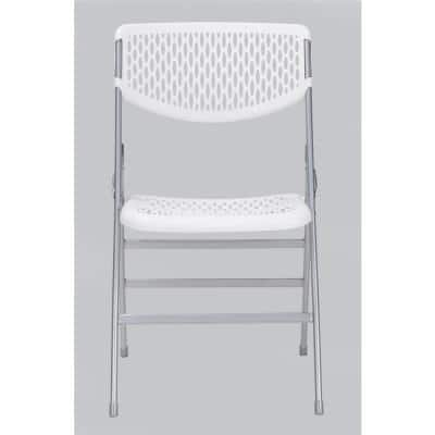 White Resin Mesh Folding Chair (Set of 2)