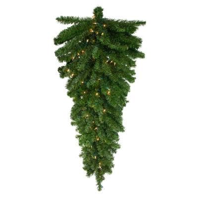 52 in. Pre-Lit Canadian Pine Artificial Christmas Teardrop Swag with Clear Lights