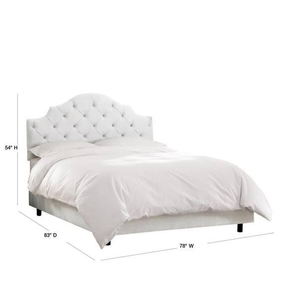 Jones Velvet White King Tufted Notched Bed 633bedvlvwht The Home Depot