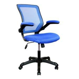 25 in. Width Big and Tall Blue Fabric Task Chair with Adjustable Height