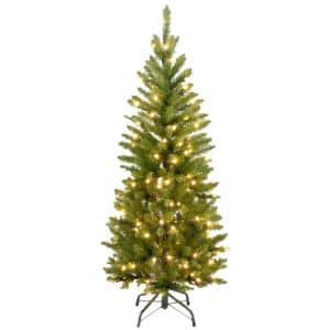 4-1/2 ft. Kingswood Fir Hinged Pencil Artificial Christmas Tree with Clear Lights