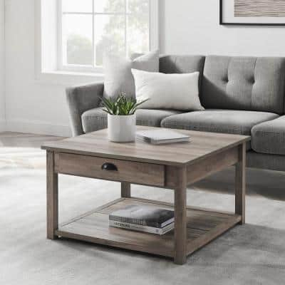 30 in. Gray Wash Medium Square Wood Coffee Table with Drawers