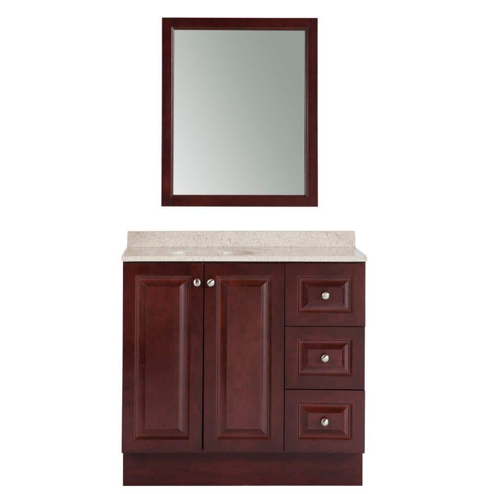 Glacier Bay Northwood 36 In W X 19 In D Bathroom Vanity In Dark Cherry With Composite Vanity Top In Maui And Mirror Nw36p3com Dc The Home Depot