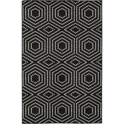 Patio Brights Onyx/Snow 8 ft. x 10 ft. Geometric Polypropylene Indoor/Outdoor Area Rug