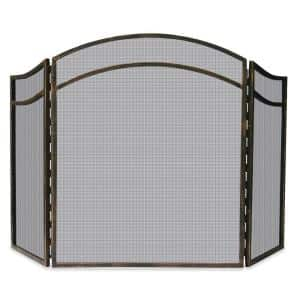 Antique Rust Wrought Iron Finish 51.5 in. W 3-Panel Fireplace Screen with Arch Top