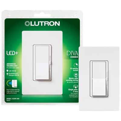 Diva LED+ Dimmer Switch for Dimmable LED, Halogen and Incandescent Bulbs, Single-Pole or 3-Way, with Wallplate, White