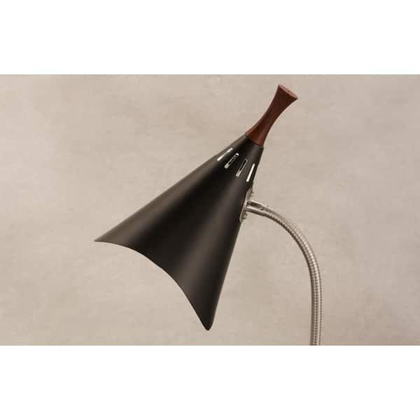 Adesso Draper 18 In Black Gooseneck Desk Lamp 3234 01 The Home Depot