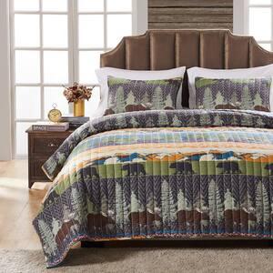 Black Bear Lodge 3-Piece Multicolored King Quilt Set