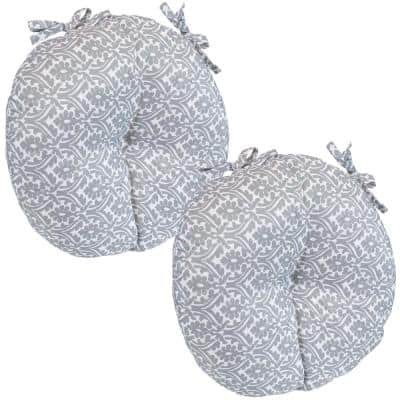 15 in. x 4 in. Polyester Round Outdoor Patio Seat Cushions in Gray Damask (Set of 2)
