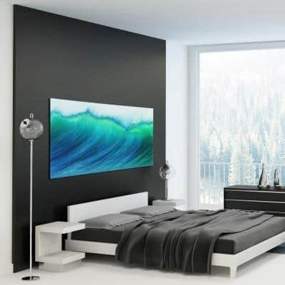 """Blue Wave"" Frameless Free Floating Tempered Art Glass by EAD Art Coop Wall Art"