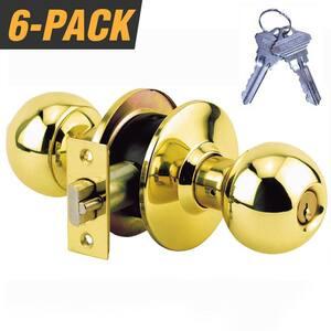Brass Grade 3 Storeroom Door Knob with 12 SC1 Keys (6-Pack, Keyed Alike)
