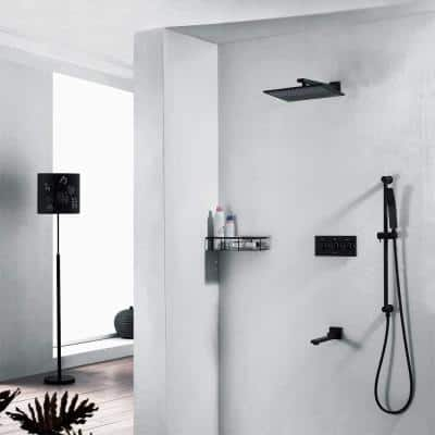 2-Spray Patterns 10 in. Wall Mount Dual Shower Heads with Handheld and Tub Spout Shower System in Matte Black