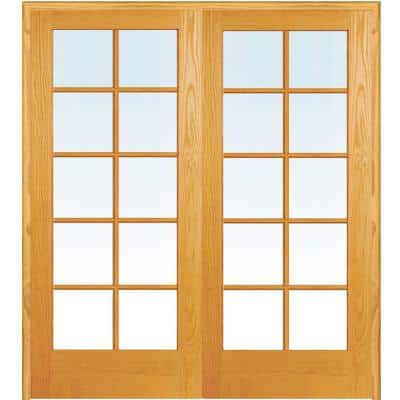 60 in. x 80 in. Both Active Unfinished Pine Glass 10-Lite Clear True Divided Prehung Interior French Door