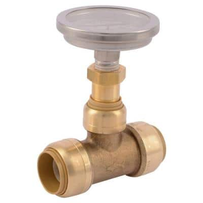 3/4 in. Push-to-Connect Brass Tee Fitting with Water Temperature Gauge