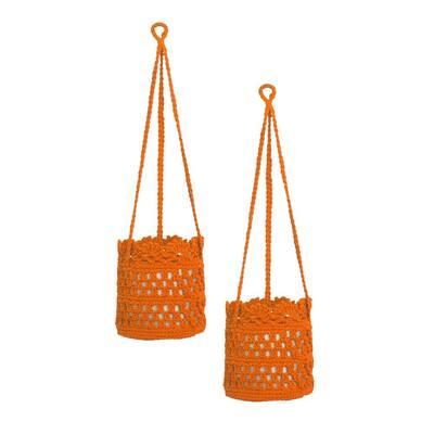 Mode Crochet Orange Polypropylene Hanging Baskets (Set of 2)