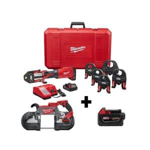 M18 18-Volt Lithium-Ion Brushless FORCE LOGIC Press Tool Kit w/ 1/2 in. - 2 in. Jaws Kit w/ Bandsaw and 5.0Ah Battery
