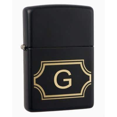 """Black Matte Lighter with Initial """"G"""""""