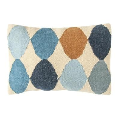Off-White with Blue and Brown Pattern Lumbar 26 in. x 16 in. Throw Pillow