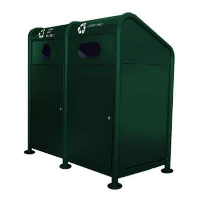 68 Gal. Steel Recycling Station in Green