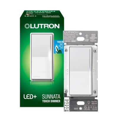 Single-Pole/3-Way Sunnata LED Plus Touch Dimmer for LED Incandescent/Halogen Bulbs, Boxed, White