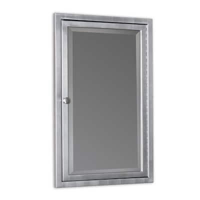 16 in. W x 26 in. H x 3-1/2 in. D Framed Single Door Stainless Steel Recessed Bathroom Medicine Cabinet