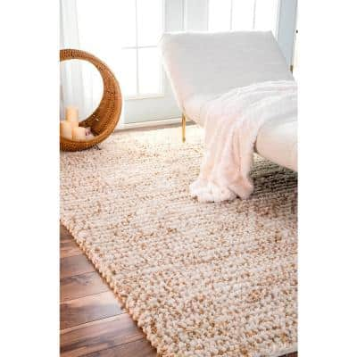 Remina Casual Solid Jute Natural 9 ft. x 12 ft. Area Rug