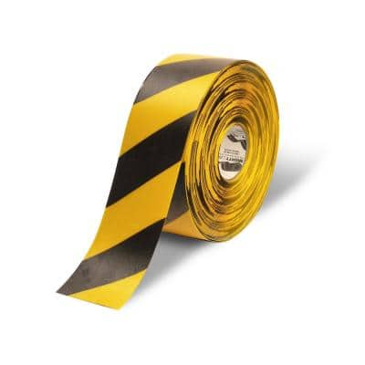 4 in. Safety Floor Tape in Yellow with Black Chevrons 100 ft. Roll