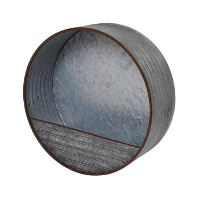 15.7 in. dia. Galvanized Metal Round Hanging Wall Planter