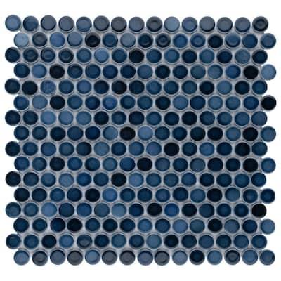 Hudson Penny Round Glacier 12 in. x 12-5/8 in. Porcelain Mosaic (10.74 sq. ft. /Case)