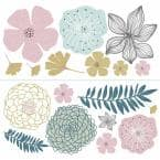 Multi Colored Perennial Blooms Peel and Stick Giant Wall Decals