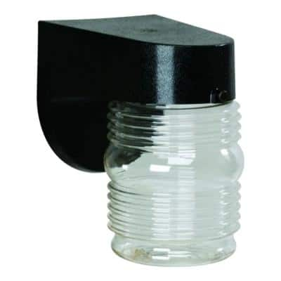 45-Watt Equivalent Black Outdoor Integrated LED Wall Lantern