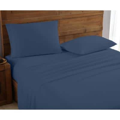 Mhf Home 4-Piece Navy Solid King Sheet Set
