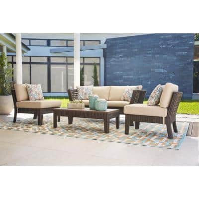 Tyler 4-Piece Steel Wicker Outdoor Patio Conversation Set with Beige Cushions