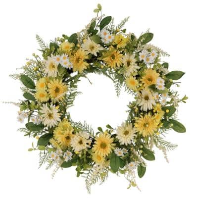 30 in. Artificial Chrysanthemum and Daisy Floral Spring Wreath