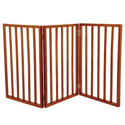 Free-Standing Mahogany Wooden Pet Gate