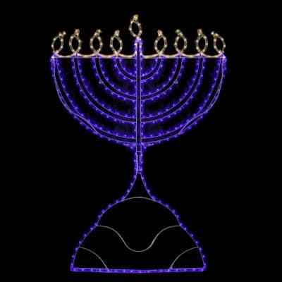 336-Light Rope Menorah Commercial Hanukkah Dual Colored LED Decoration