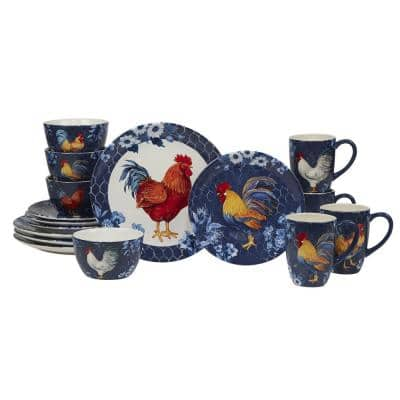 Indigo Rooster 16-Piece Earthenware Dinnerware Set (Service Set for 4)