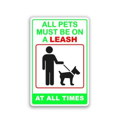 12 in. x 8 in. All Dogs Pets Must Be on Leash Plastic Sign