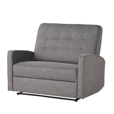 Calliope 47 in. Gray/Black Button Tufted Polyester 2-Seater Reclining Loveseat with Square Arms