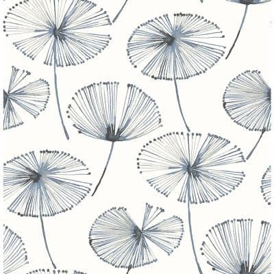 Paradise Navy Fronds Paper Strippable Roll (Covers 56.4 sq. ft.)