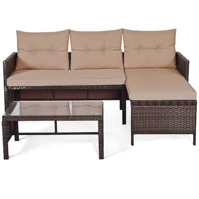 Costway 3-pcs Rattan Wicker Sofa Set Outdoor Patio Sectional Conversation Set Garden Lawn with Cushions Beige
