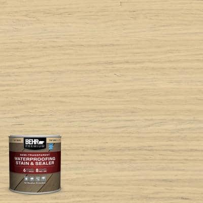 8 oz. #ST-133 Yellow Cream Semi-Transparent Waterproofing Exterior Wood Stain and Sealer Sample