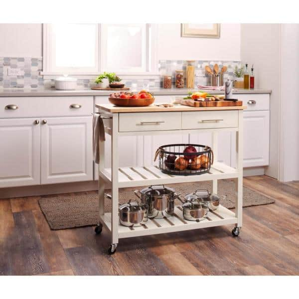 Stylewell Glenville White Kitchen Cart With 2 Shelves Sk17787cr2 Cbw The Home Depot