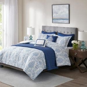 River 8-Piece Blue Full/Queen Printed Seersucker Comforter and Coverlet Set Collection
