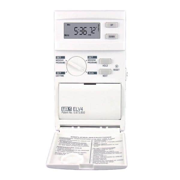 Lux 5 2 Day Programmable Heat Only Thermostat Elv4 005 The Home Depot