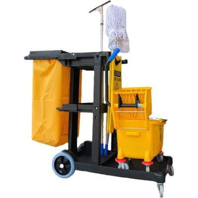 Commercial Yellow/Grey Heavy-Duty Polyethylene Material Janitorial Cart