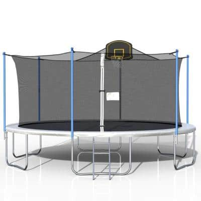 MINISO 16 ft. Round Black Trampoline with Safety Enclosure Net and Basketball Hoop