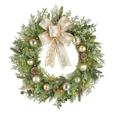 30 in St. Germain Battery Operated Mixed Pine LED Pre-Lit Natural Artificial Wreath with Timer