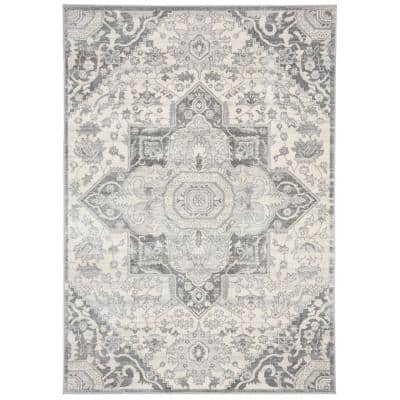 Brentwood Gray/Cream 5 ft. x 8 ft. Area Rug
