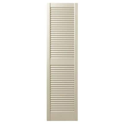 15 in. x 51 in. Open Louvered Polypropylene Shutters Pair in Sand Dollar